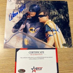 Adam west Burt ward Batman and robin signed photo